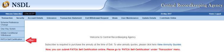 NPS FATCA Online Menu