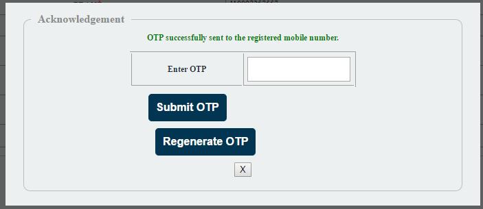 NPS FATCA Online OTP Screen
