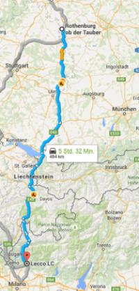 Route von Lecco nach Rothenburg o.d. Tauber
