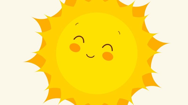 Sonne mit Gesicht. Sonnenschutz Haut