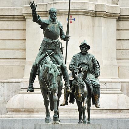Statue von Don Quijote. Stressbekämpfung
