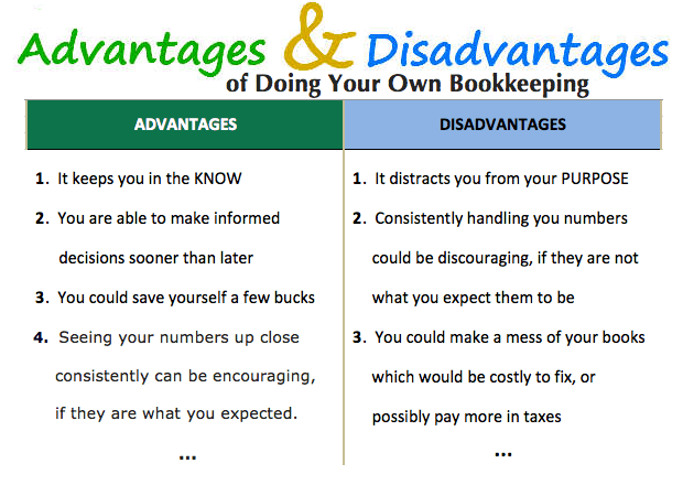 advantages and disadvantages of doing your own bookkeeping