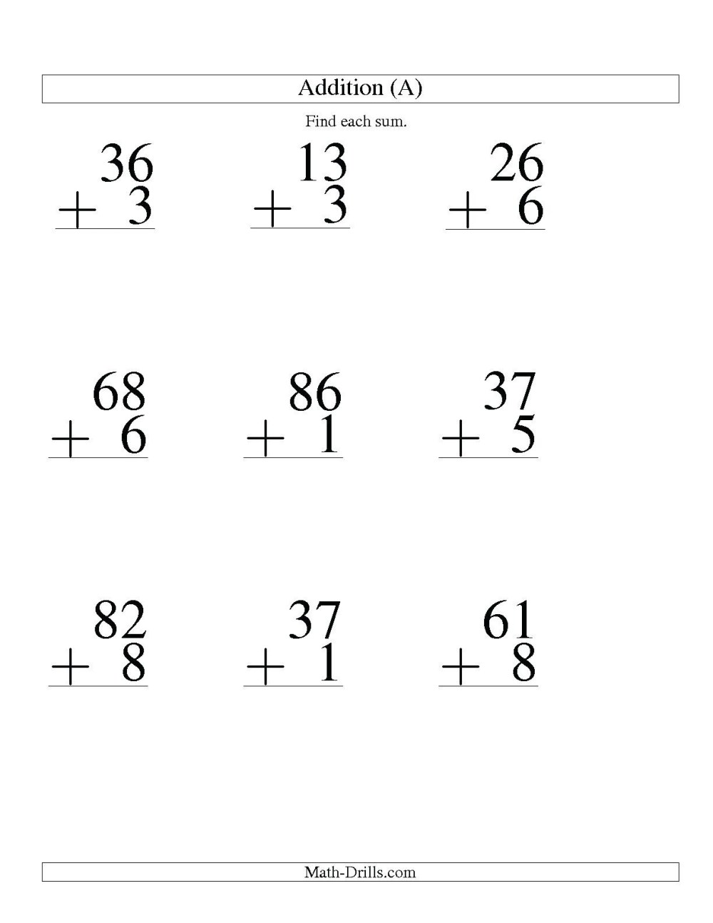 medium resolution of 5 Free Math Worksheets First Grade 1 Addition Adding 2 Digit Plus 1 Digit  No Regrouping - apocalomegaproductions.com