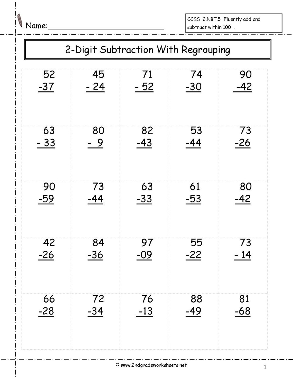 medium resolution of 4 Free Math Worksheets First Grade 1 Subtraction Subtract 1 Digit From 2  Digit No Regrouping - apocalomegaproductions.com