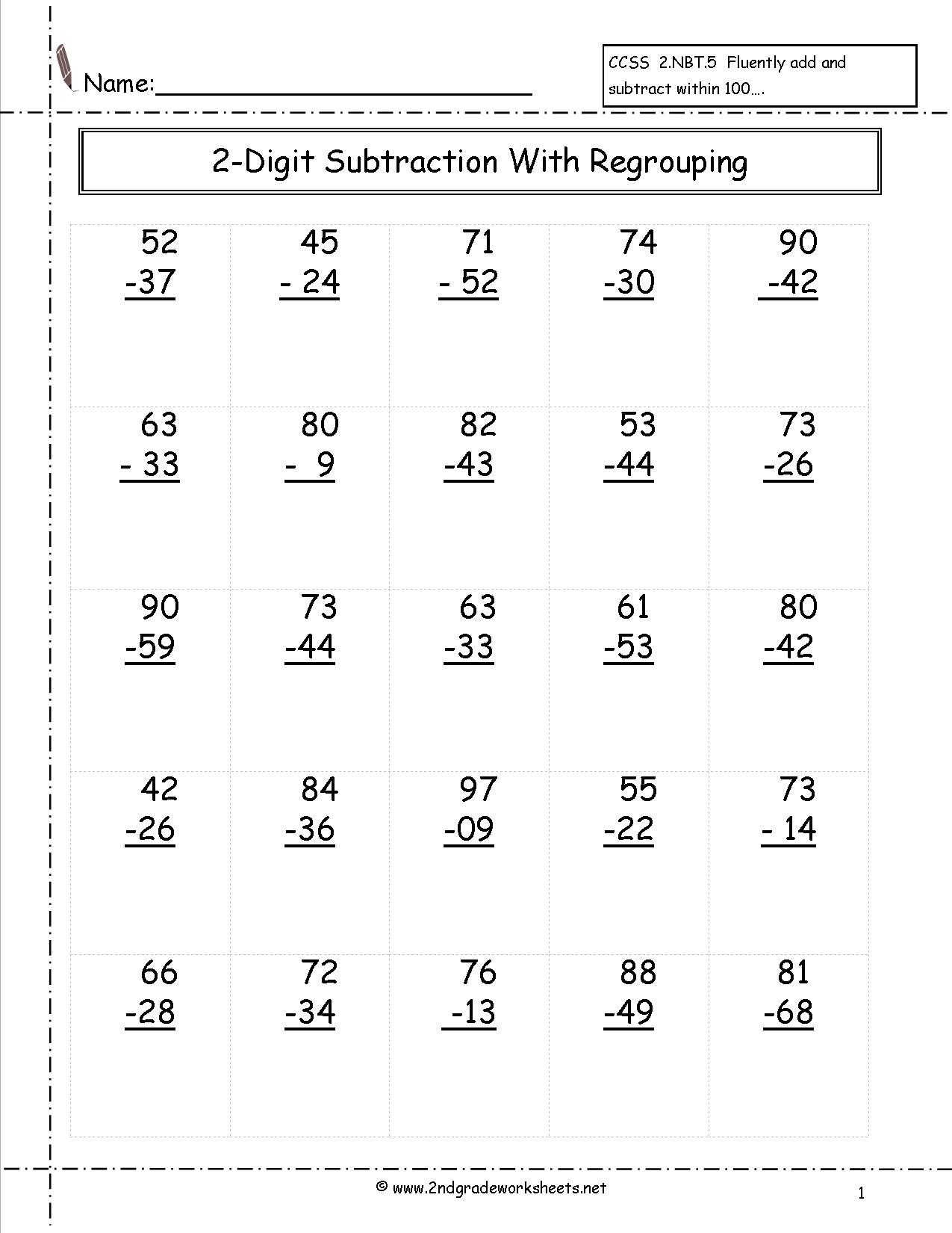 hight resolution of 4 Free Math Worksheets First Grade 1 Subtraction Subtract 1 Digit From 2  Digit No Regrouping - apocalomegaproductions.com