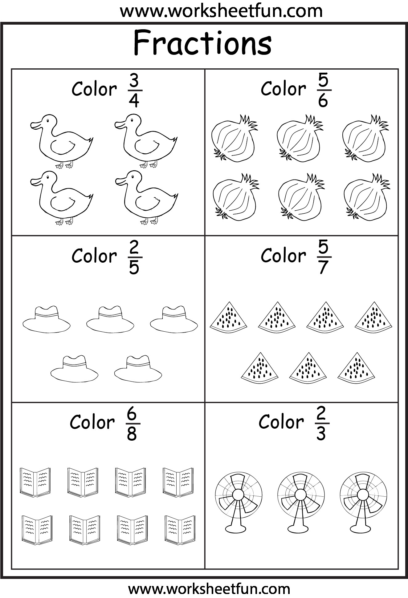4 Free Math Worksheets Third Grade 3 Fractions And