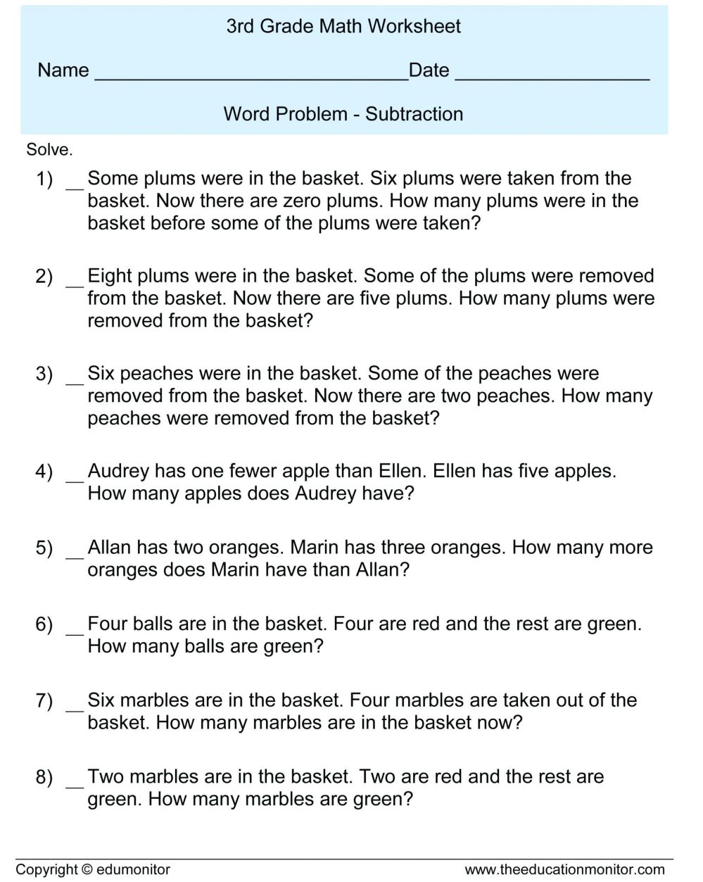 medium resolution of 3 Free Math Worksheets Third Grade 3 Fractions and Decimals Subtracting  Fractions From Mixed Numbers - apocalomegaproductions.com