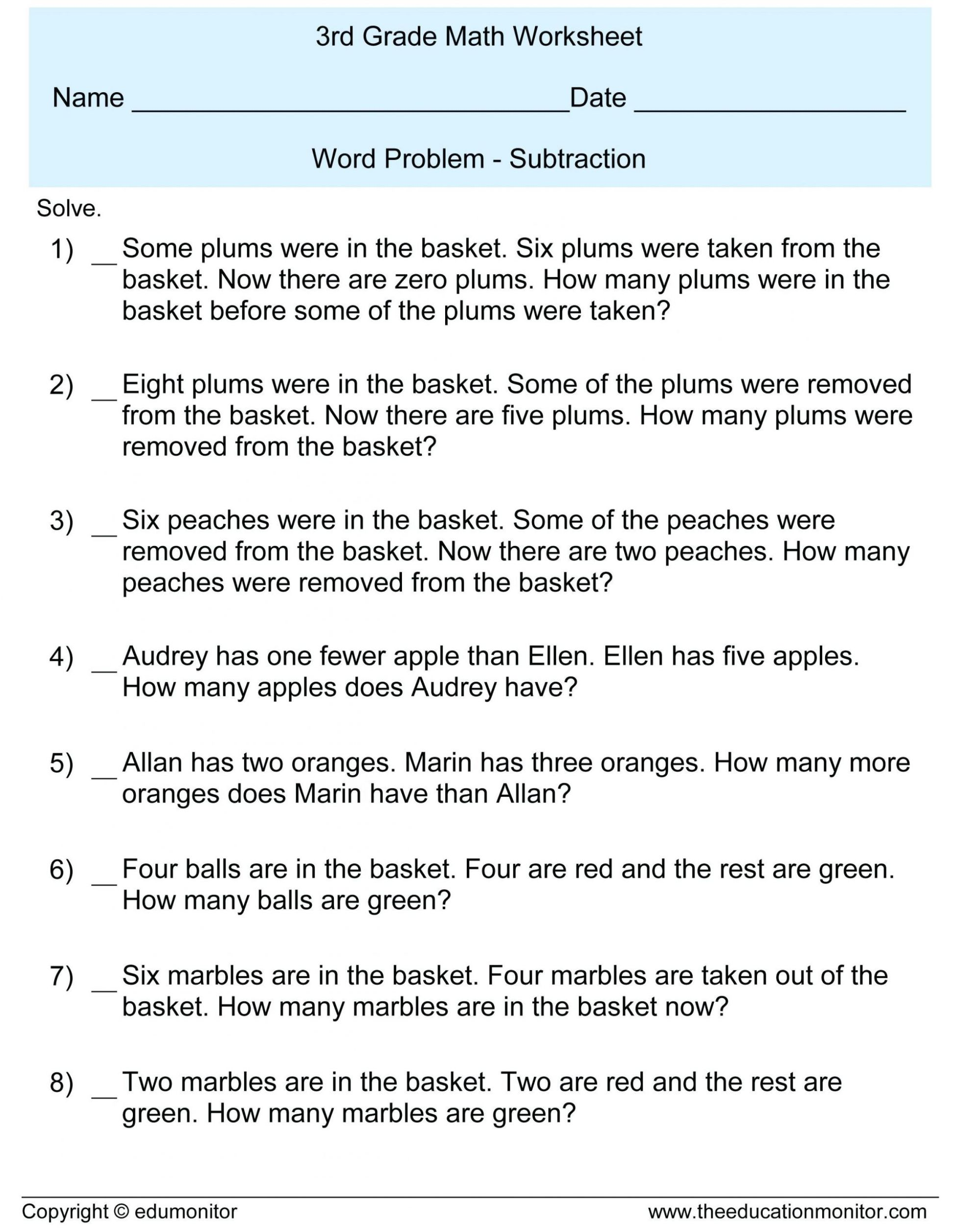 hight resolution of 3 Free Math Worksheets Third Grade 3 Fractions and Decimals Subtracting  Fractions From Mixed Numbers - apocalomegaproductions.com
