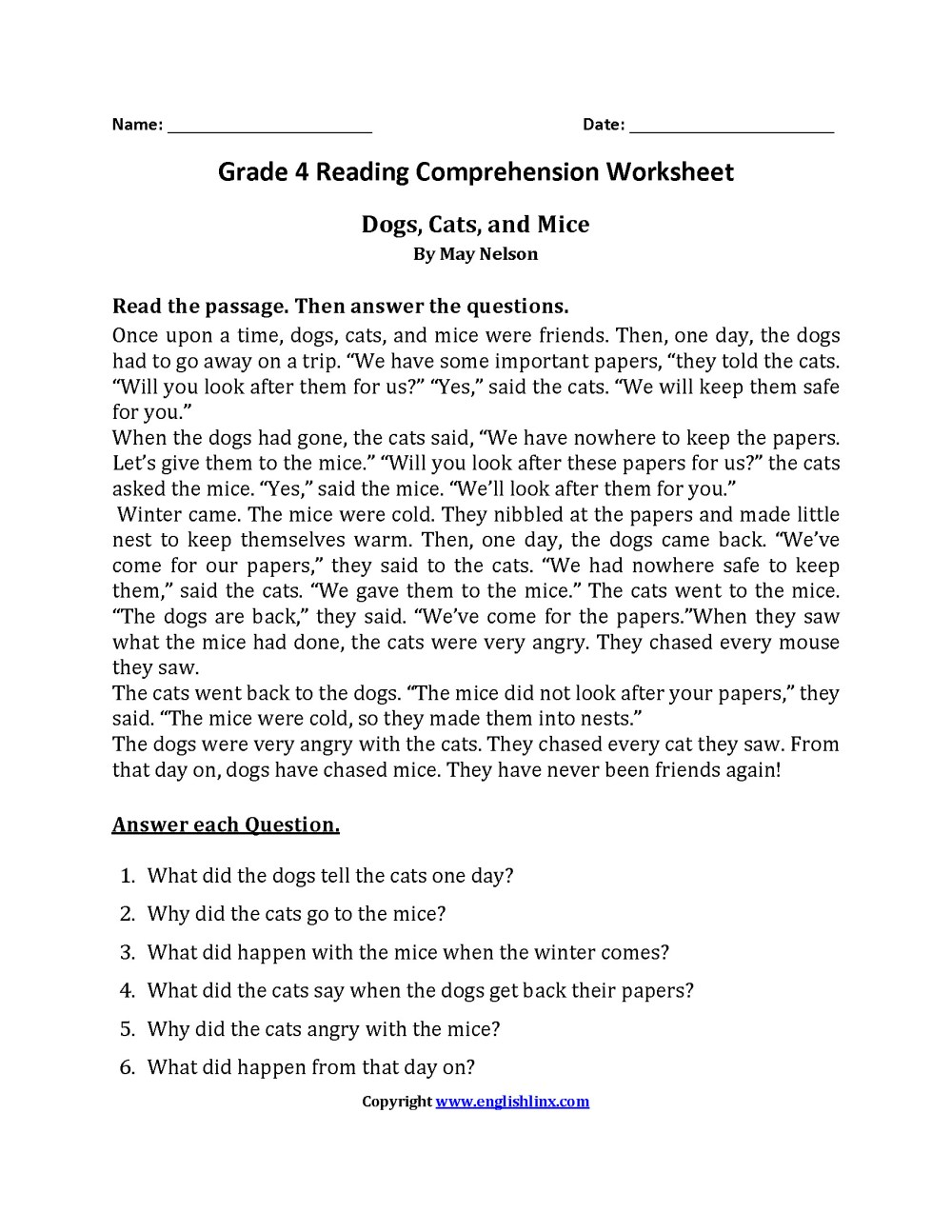 medium resolution of 3 Reading Comprehension Worksheets First Grade 1 -  apocalomegaproductions.com