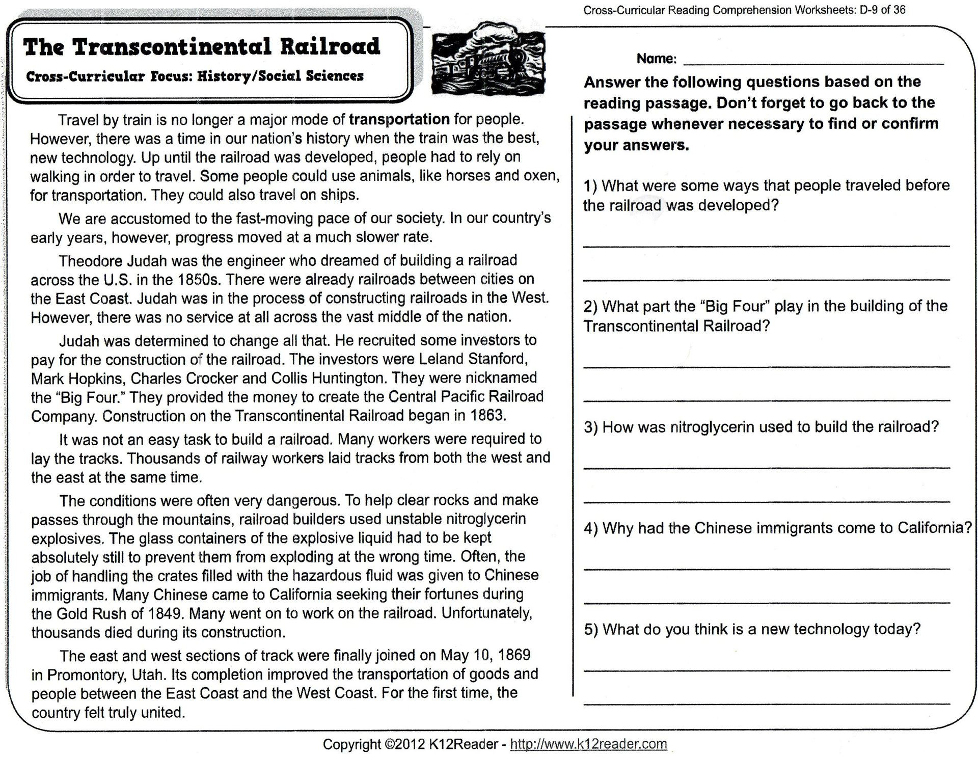 hight resolution of 5 Reading Comprehension Worksheets Fourth Grade 4 -  apocalomegaproductions.com