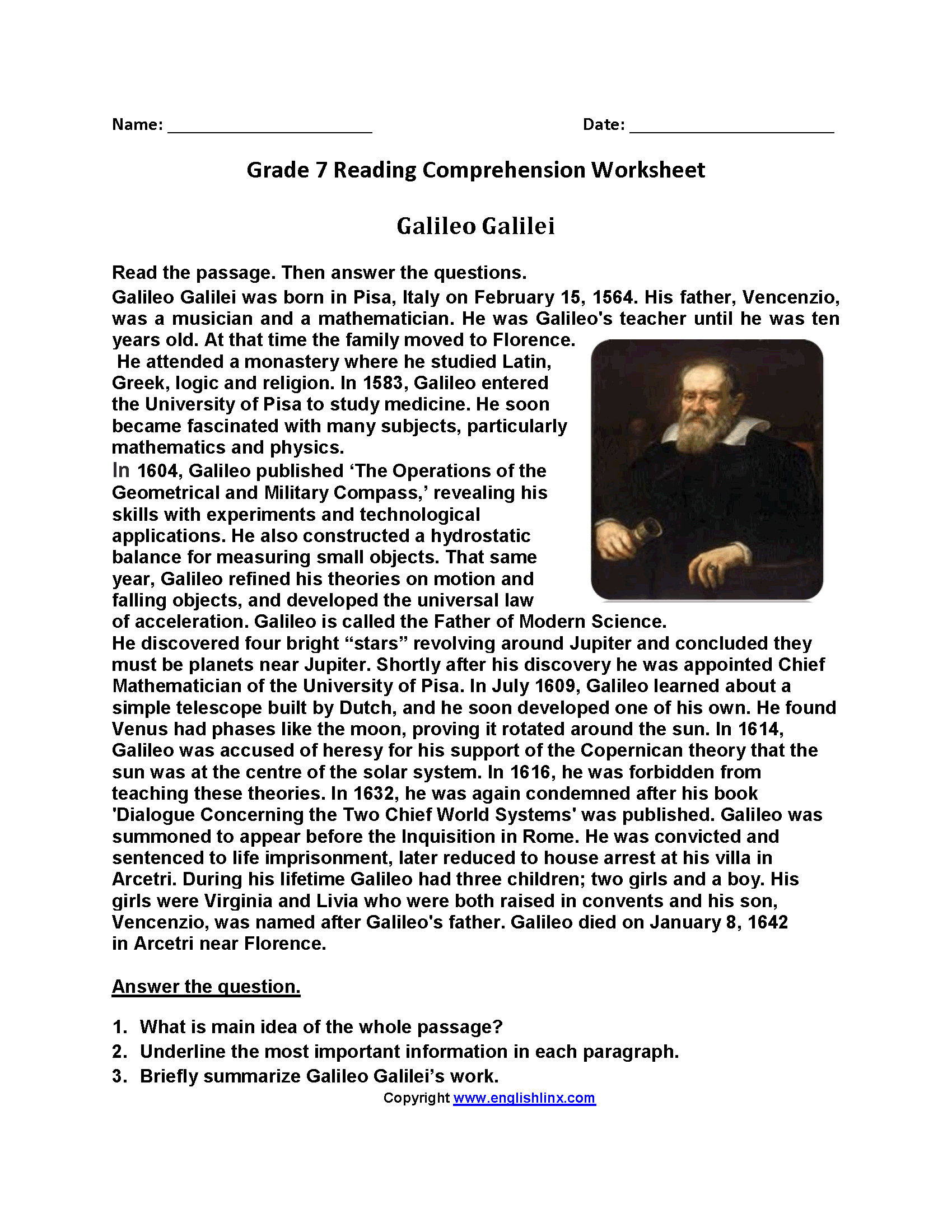 - Reading Worksheets For Seventh Grade Printable Worksheets And