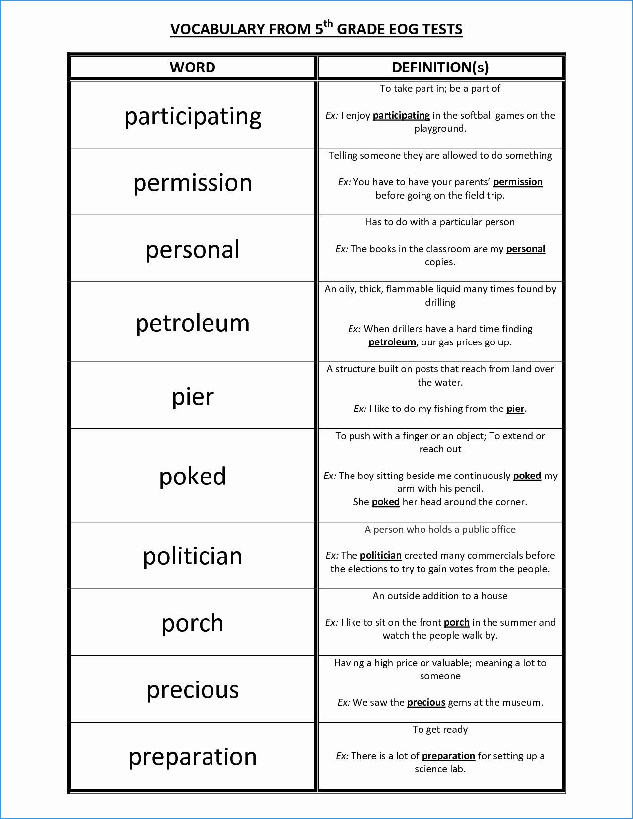 3 Vocabulary Worksheets