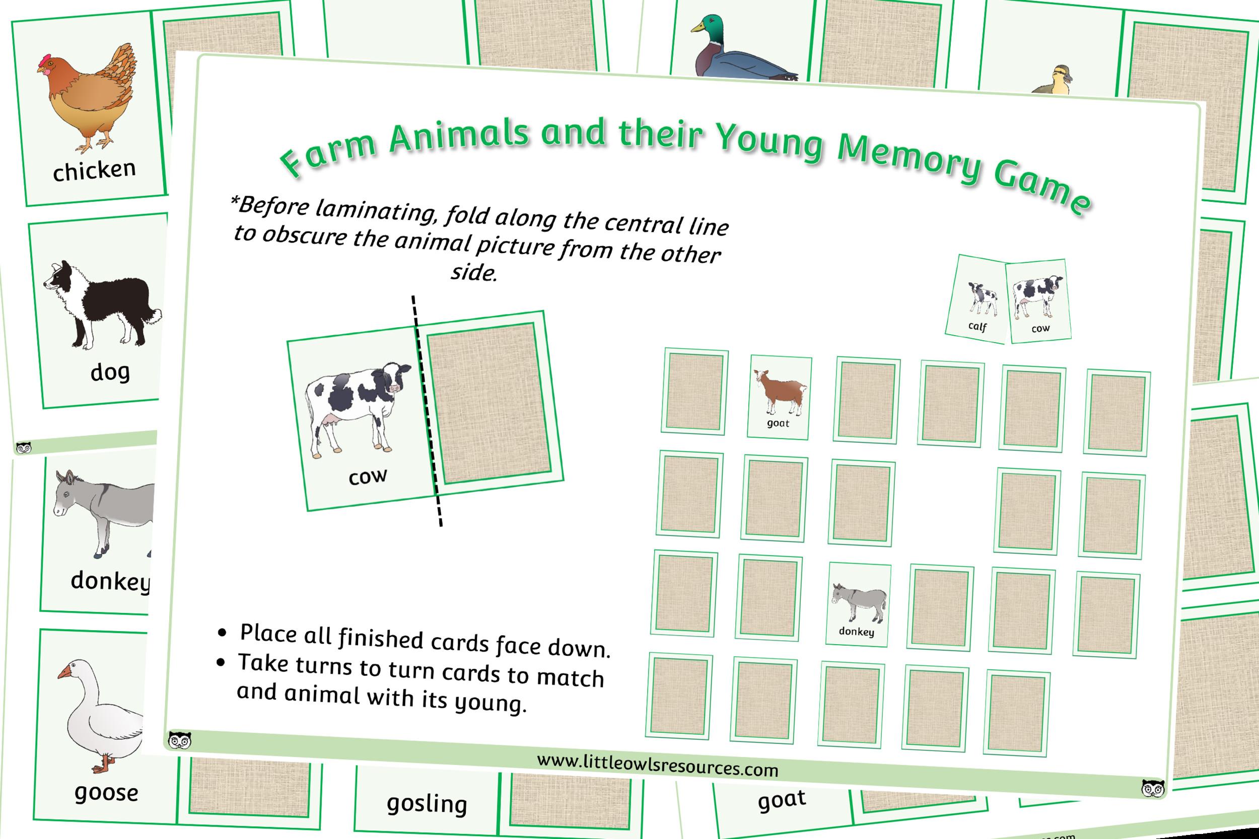 5 Farm Animals Vocabulary Free Printable