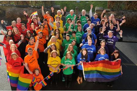 17/02/15 'Human rainbow flag' Councillors, charities, civic leaders and dignitaries make a 'human' rainbow falg outside Shire Hall in Cambridge. Picture: Warren Gunn