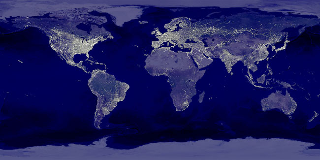 Earth at night - NASA composite image