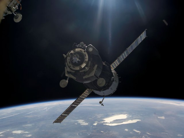A Soyuz Spacecraft Approaches the Space Station