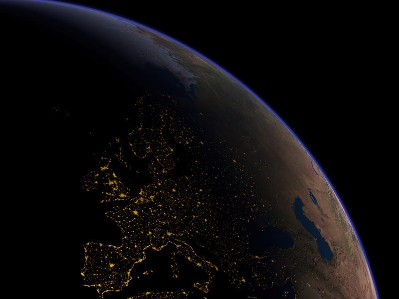 Europe at night - Copyright: Planetary Visions Ltd.; Courtesy: Kevin M. Tildsley