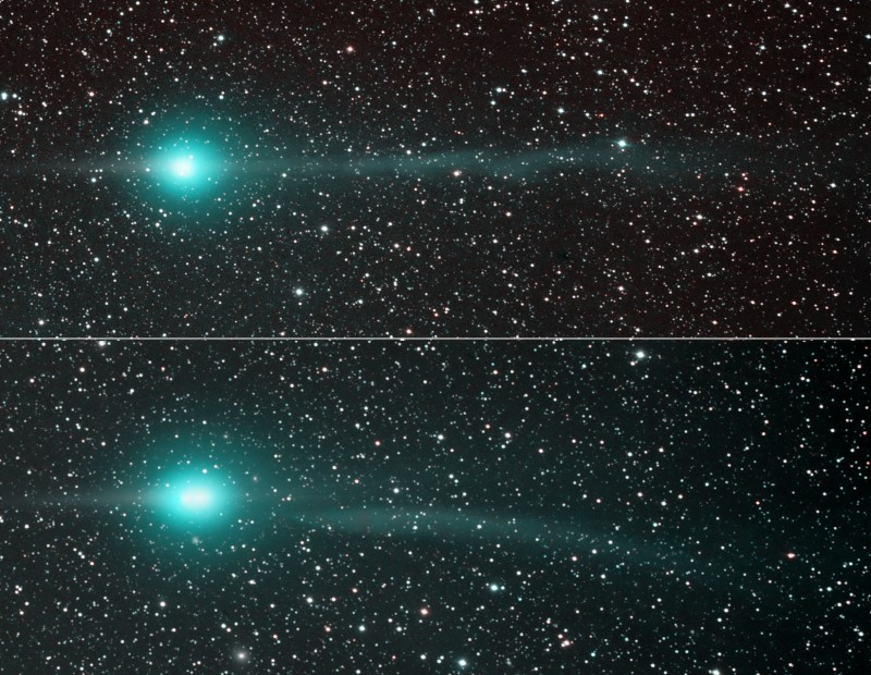 NASAs APOD caption:  Explanation: Sweeping through the inner solar system, Comet Lulin is easily visible in both northern and southern hemispheres with binoculars or a small telescope. Recent changes in Lulins lovely greenish coma and tails are featured in this two panel comparison of images taken on January 31st (top) and February 4th. Taken from dark New Mexico Skies, the images span over 2 degrees. In both views the comet sports an apparent antitail at the left -- the comets dust tail appearing almost edge on from an earth-based perspective as it trails behind in Lulins orbit. Extending to the right of the coma, away from the Sun, is the beautiful ion tail. Remarkably, as captured in the bottom panel, Comet Lulins ion tail became disconnected on February 4, likely buffeted and torn away by magnetic fields in the solar wind. In 2007 NASA satellites recorded a similar disconnection event for Comet Encke. Dont worry, though. Comet tails can grow back.  Photos copyright by Joseph Brimacombe
