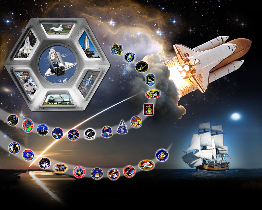 The space shuttle Endeavour is shown rising to orbit, with patches for each of its missions shown in a spiral. Endeavour was named for the HMS Endeavour, a British research ship that explored the south Pacific Ocean in the 1700s, depicted on the lower right. On the upper left are panoramic windows delivered by Endeavour to the International Space Station earlier this year. In the background near the top is the NGC 602 nebula as imaged by the Hubble Space Telescope, which was serviced by Endeavour in 1993.