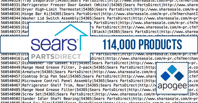 Sears PartsDirect Datafeed Updated with 114,000 Products