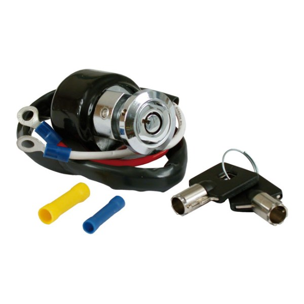 Dyna style ignition switch, round key, 2-wire. Chrome | 91-93 Dyna (excl. FXDWG) (NU)