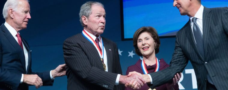 george-w.-bush-accepts-prestigious-liberty-award-with-bloody-hands