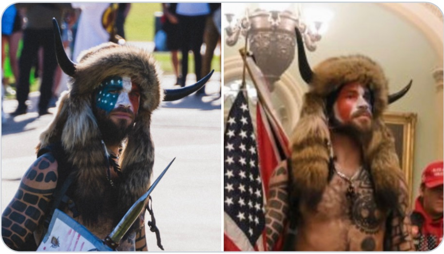 """was-it-staged?-""""viking""""-who-stormed-the-capitol-building-previously-photographed-at-blm-rally-wearing-the-same-outfit"""