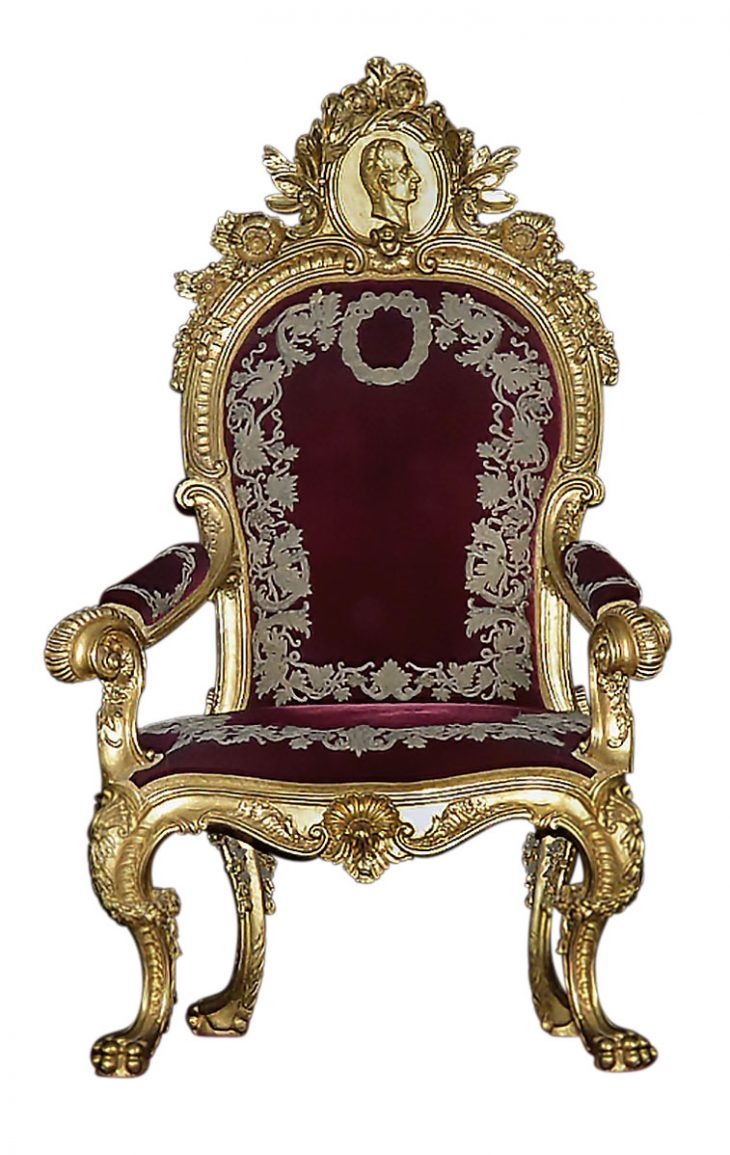 how to make a queen throne chair beach chairs sale seats of power through the centuries apollo magazine king juan carlos 1978 made by fundacion generalissimo franco copying that for charles iii in 1763 66 gennaro di fiore and andrea