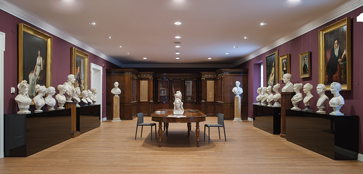 In the centre of the Napoleonic Gallery, which contains busts of Wellington and Napoleon placed opposite each other, is a model of Canova's bust of Dante's Beatrice (after 1817).
