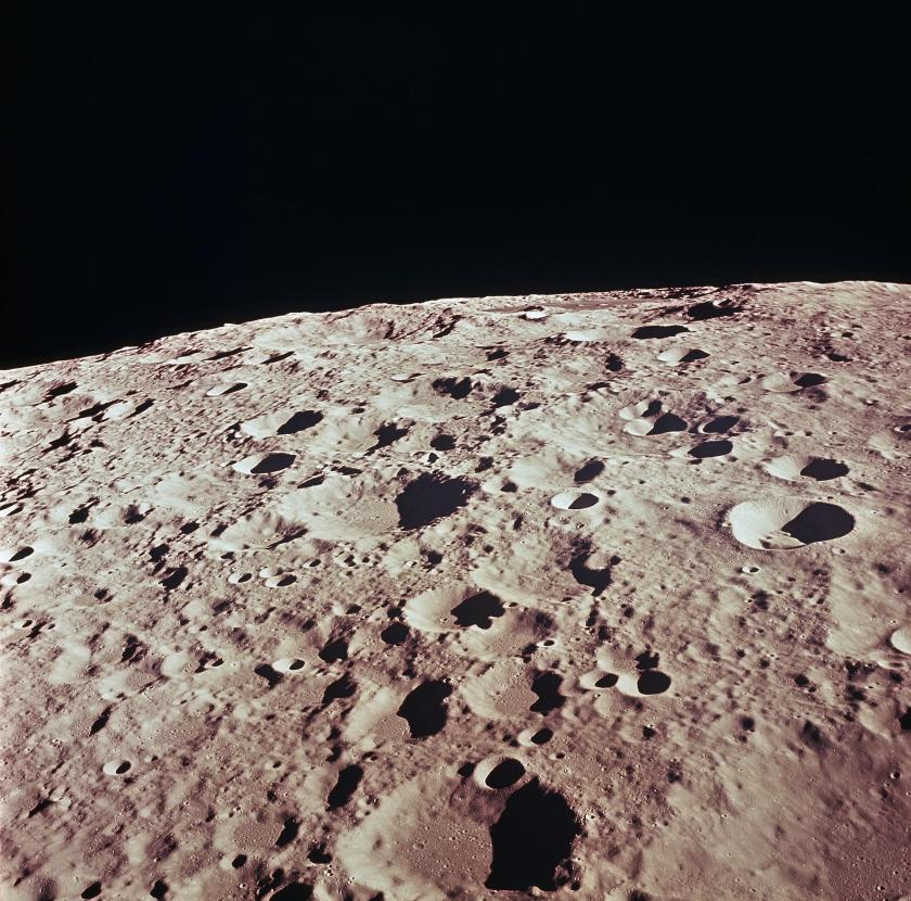 Craters photographed by the Apollo 11 lunar lander.