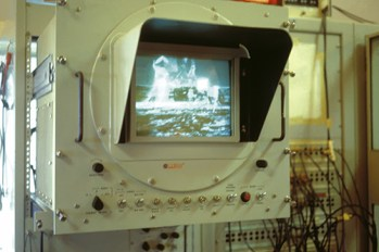 A monitor in the Parkes control room shows the historic moonwalk as it's received from the Moon. Credit: David Cooke