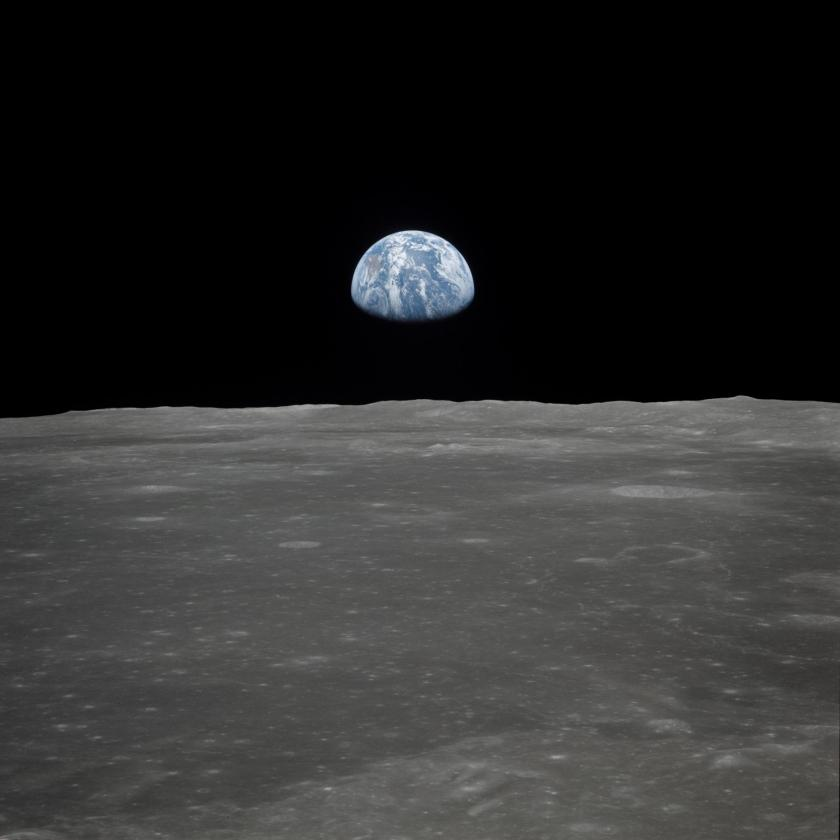 Earth seen from the Apollo 11 lunar module, descending to the Moon. Credit: CSIRO