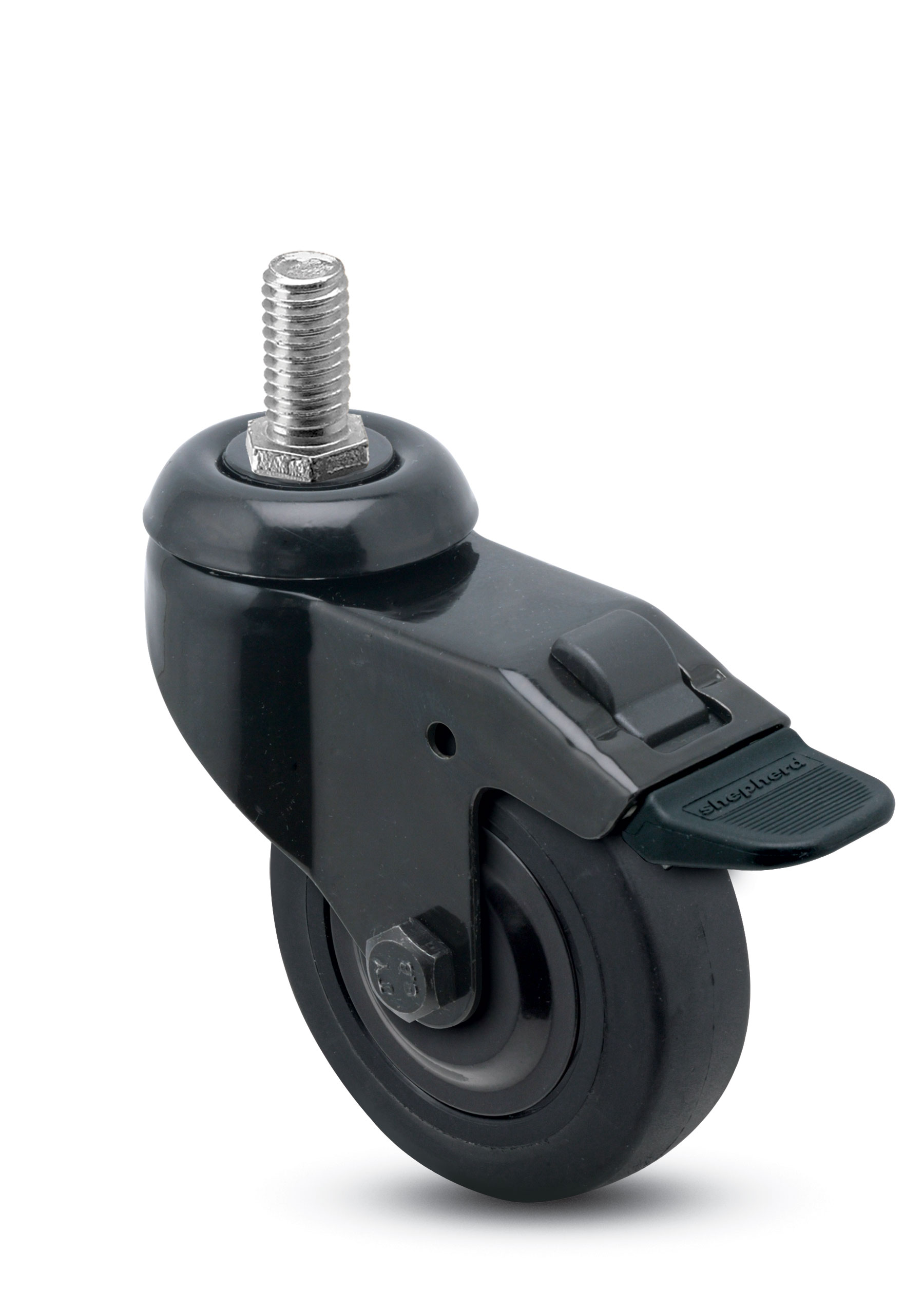 chair casters threaded stem godrej revolving catalogue 3 x 13 16 swivel caster with a thermoplastized rubber