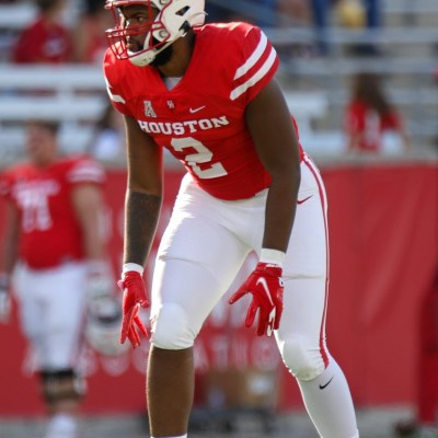 Houston football linebacker Donavan Mutin is one of eight captains for the Cougars in 2021. UH faces off against Texas Tech on Saturday. (Photo by Mario Puente)