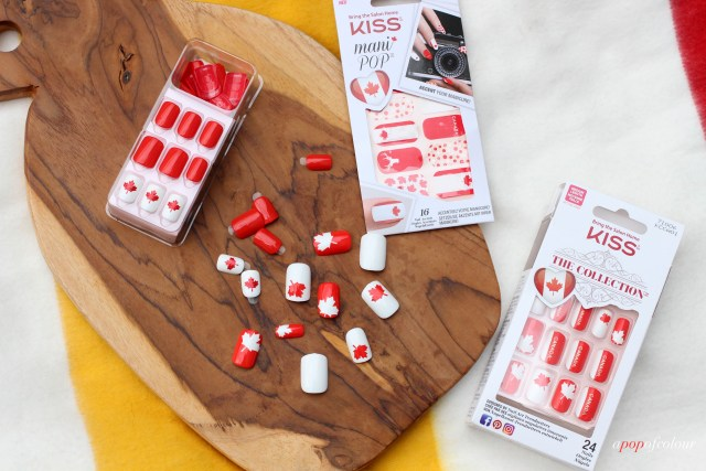 Kiss Canada Day Impress press on nails, Kiss The Collection nails, and Kiss Mani Pop Canada Day