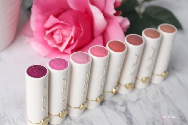 Too Faced Peaches and Cream Moisture Matte Long Wear Lipsticks