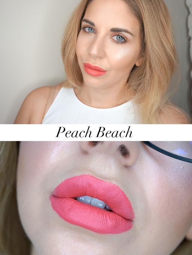 Too Faced Peaches and Cream Moisture Matte Long Wear Lipsticks swatch in Peach Beach