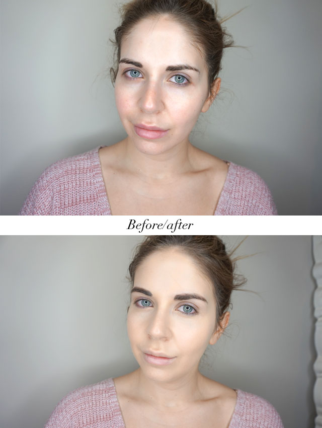Before and after using the Laura Mercier Flawless Fusion Ultra-Longwear Foundation