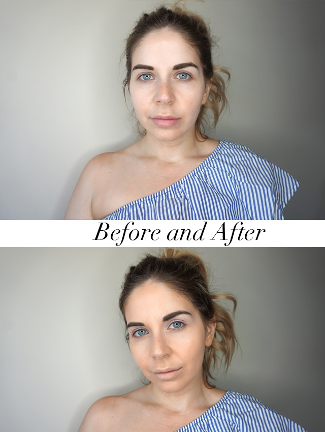 Before and after using Revlon ColorStay 24-hour foundation