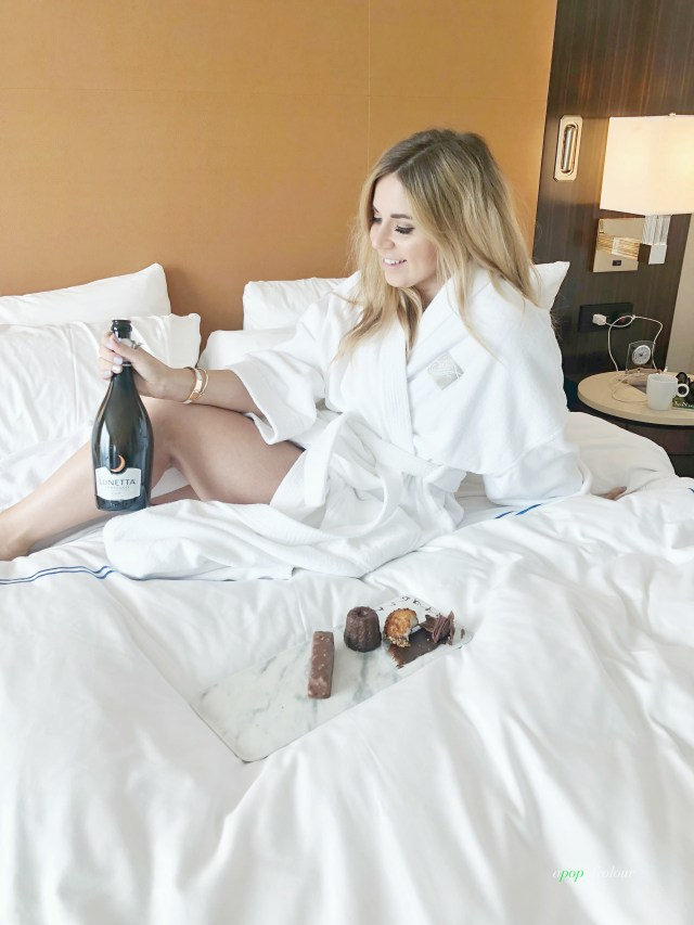 Bed and prosecco at Fairmont Austin