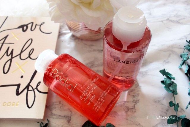 Rodial Dragon's Blood Cleansing Water and Laneige Cleansing Water