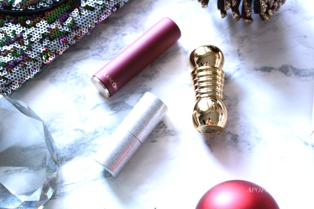 Lancome L'Absolu Rouge Drama Matte lipstick in Dramatic, Diorific Mat lipstick in Desirable, and Lise Watier Neiges Sparkling Lipstick