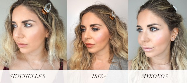 Buxom Wanderlust Primer-Infused Blush swatches in Ibiza, Mykonos, and Seychelles