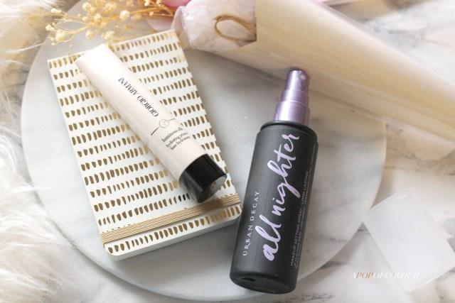 Giorgio Armani Luminous Silk Hydrating Primer and Urban Decay All Nighter Makeup Setting Spray