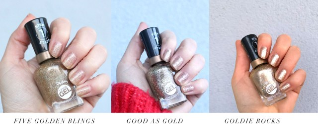 swatches of Sally Hansen Miracle Gel Oh My Gold holiday collection for 2019