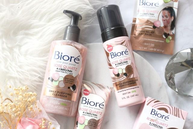 Biore Rose Quartz + Charcoal cleansers
