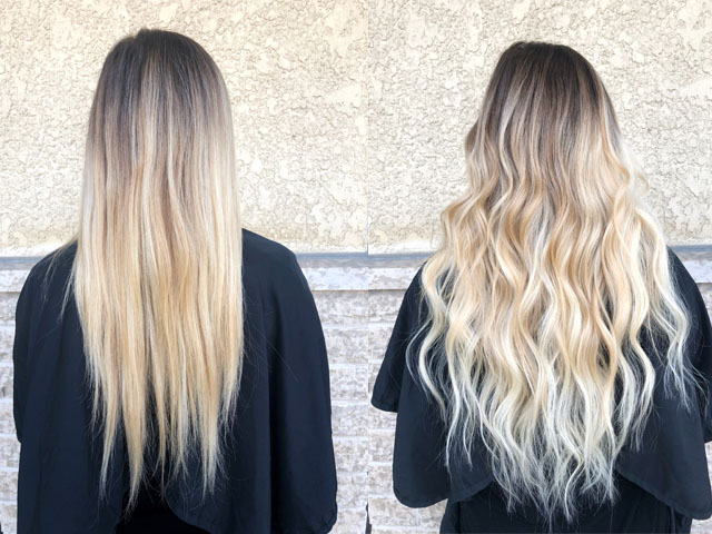 Before and after with Philocaly tape-in extensions