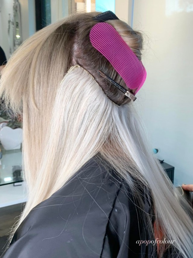 Sewn in weft on hand-tied extensions by Philocaly at Fifth Winnipeg