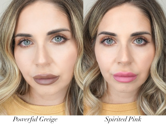 Make Up For Ever Rouge Artist lipsticks swatched in Powerful Greige and Spirited Pink