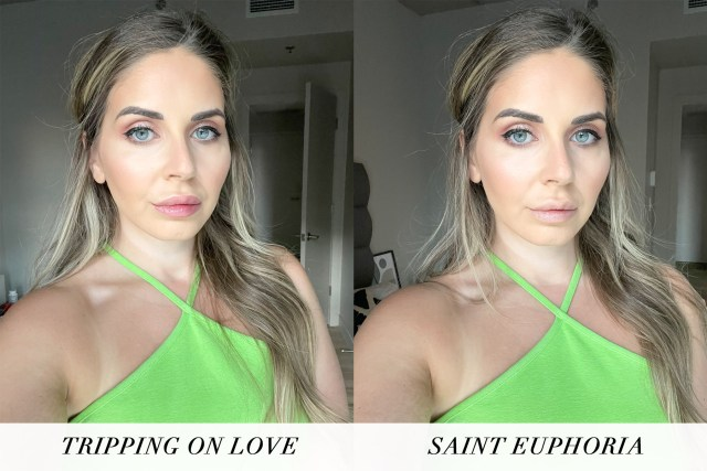 Tinted Love Lip & Cheek Stains swatches in Saint Euphoria and Tripping in Love